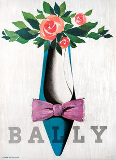 """Bally (pink bow)"" Original Vintage Fashion Poster"