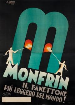 """""""Monfrin il panettone piu leggero del mondo!"""" Original Vintage Food Poster 1930s"""