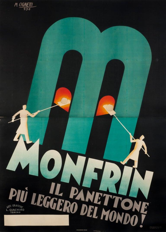 """""""Monfrin il panettone piu leggero del mondo!"""" Original Vintage Food Poster 1930s - Print by Michelangelo Cignetti"""