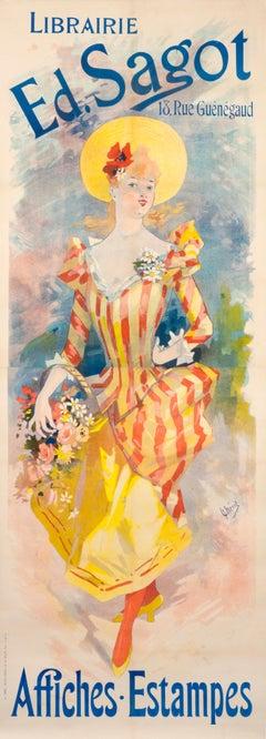 """""""Librarie Ed. Sagot Affiche Estampes"""" Original Antique Fashion Poster"""