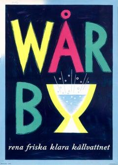 """Warby - rena friska klara kallvattnet"" Original Vintage Beverage Poster"