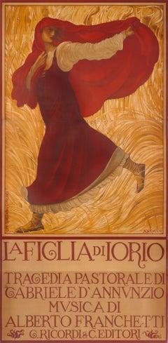 """""""La Figlia di Iorio"""" Original Antique 10 foot tall Opera Poster"""