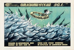 """The Atlantic Wall"" Original Vintage Soviet WW2 Propaganda Poster 1940s"