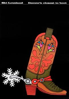 """Ski Loveland - Denver's Closest to Boot (hand signed by artist)"" Vintage Poster"