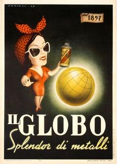 """Il Globo"" Original Mad Man Era Vintage Spray Paint Poster"