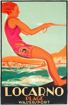 """Locarno (Water Skier)"" Original Vintage Travel Poster"