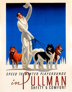 """""""Pullman - Speed to Winter Playgrounds"""" Original Vintage Winter Sports Poster"""
