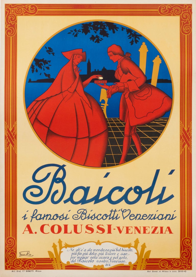"Emka - ""Baicoli"" Original Vintage Italian Food Poster For ..."