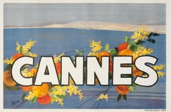 """Cannes"" Original Vintage French Travel Poster"