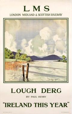 """LMS - Lough Derg"" Original Vintage Irish Travel Poster 1930's"