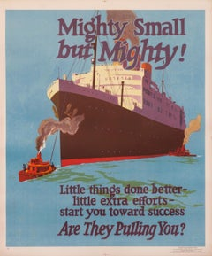 """""""Mighty Small, but Mighty!"""" Original Vintage Work Incentive Poster 1920s"""