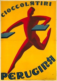 """Cioccolatini Perugina"" Original Vintage Art Deco Chocolate Poster 1920s"