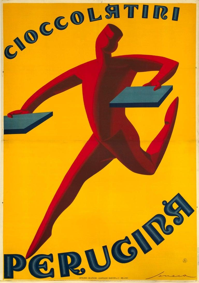 """""""Cioccolatini Perugina"""" Original Vintage Art Deco Chocolate Poster 1920s - Print by Federico Seneca"""