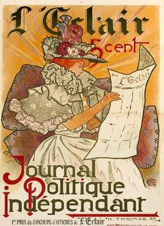 """ L'Eclair"" Original Vintage Newspaper poster 1900"