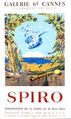 """Spiro - Galerie 65 Cannes"" Original Vintage Surrealist Exhibition Poster"