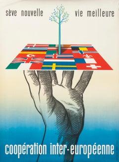 """""""Seve Nouvelle... Cooperation Inter-Europeenne"""" Original Vintage Poster"""