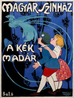 """Magyar Szinhaz (The Blue Bird) - Hungarian Theater"" Original Vintage Poster"
