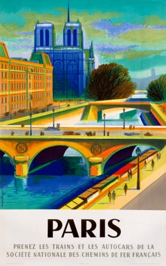 """Paris"" Original Vintage Mid-Century Travel Poster"