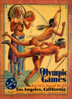 """Olympic Games - Los Angeles, CA - Santa Fe Railroad"" Original Vintage Poster"