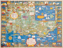 """A Map of Honolulu and the Sandwich Islands"""" Vintage Original Hawaii Poster"