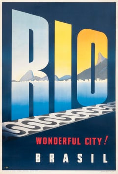 """Rio Brazil - Wonderful City!"" Original Vintage Travel Poster"