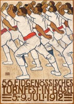 """""""56. Eidgenossisches Turnfest in Basel"""" Original Antique Swiss Gymnastics Poster"""