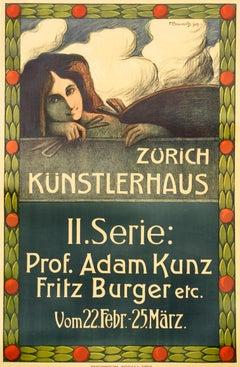 """""""Zurich Kunstlerhaus: Original Antique Theatre Performance Poster"""