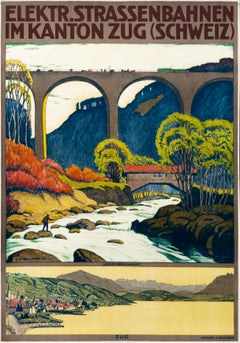 """Elektr. Strassenbahnen"" Original Vintage Swiss Travel Poster"