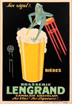 """Brasserie Lengrand Bieres"" Original French Vintage Poster"