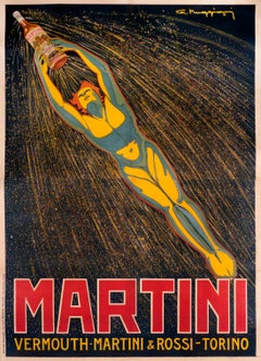 """Martini Vermouth"" Original Vintage Alcohol Poster 1920s"