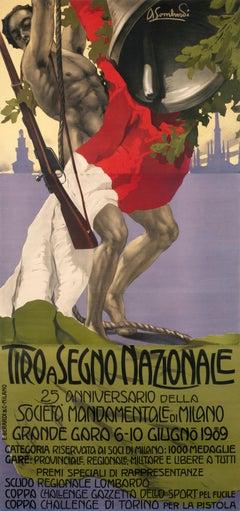 """Tiro a Segno Nazionale Milano"" Original Vintage Shooting Championship Poster"