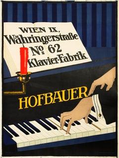 """Hofbauer Klavier - Fabrik"" Original Vintage Piano Poster"