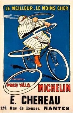 """""""Michelin - Le Meilleur - Le Moins Cher"""" Original Vintage Bicycle Poster"""