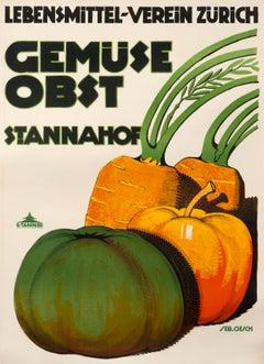 """""""Gemuse Obst - Lebensmittel Verein Zurich Stannahof"""" Original Vintage Poster"""