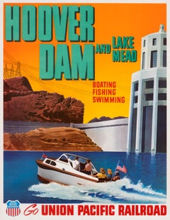"""""""Hoover Dam and Lake Mead - Union Pacific RR"""" Original Vintage Travel Poster"""