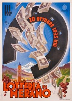 """Lotteria de Merano"" Original Vintage Horseshoe Lottery Poster 1930s"