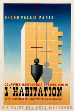 """""""L'Habitation - Grand Palais Paris"""" Original Home Design Show Poster 1930s"""