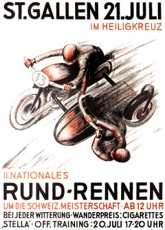 """St. Gallen - Il Nationales Rund-Rennen"" Original Vintage Racing Poster"