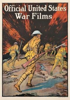 """""""Official United States War Films (infantrymen)"""" Original Vintage WWI Poster"""