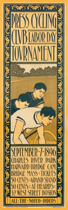 """Press Cycling Club - Labor Day Tournament"" Original Vintage Cycling Poster 1896"