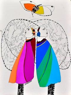 Casal, Armanda Passos, Contemporary Art, Gouache on paper, Blue, Pink, Orange