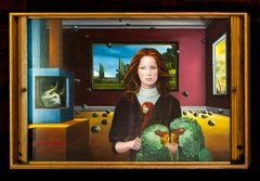 The woman with red hair and two parrots, Margarida Kendall, Oil on canvas, Red