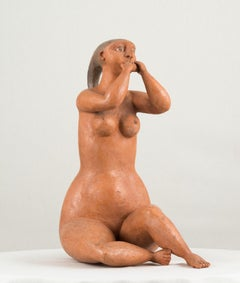 Ocarina, 1985, Jorge Vieira, Modern Art, Terracotta Sculpture, Orange brown
