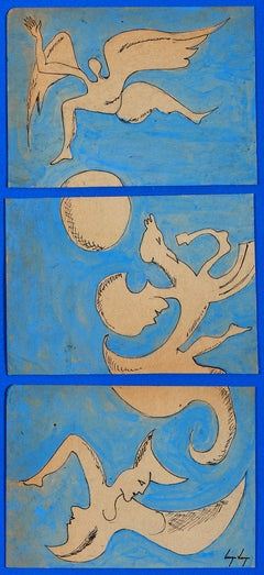 Untitled, Cruzeiro Seixas, Surrealist, Mixed Media on paper, Triptych, Blue