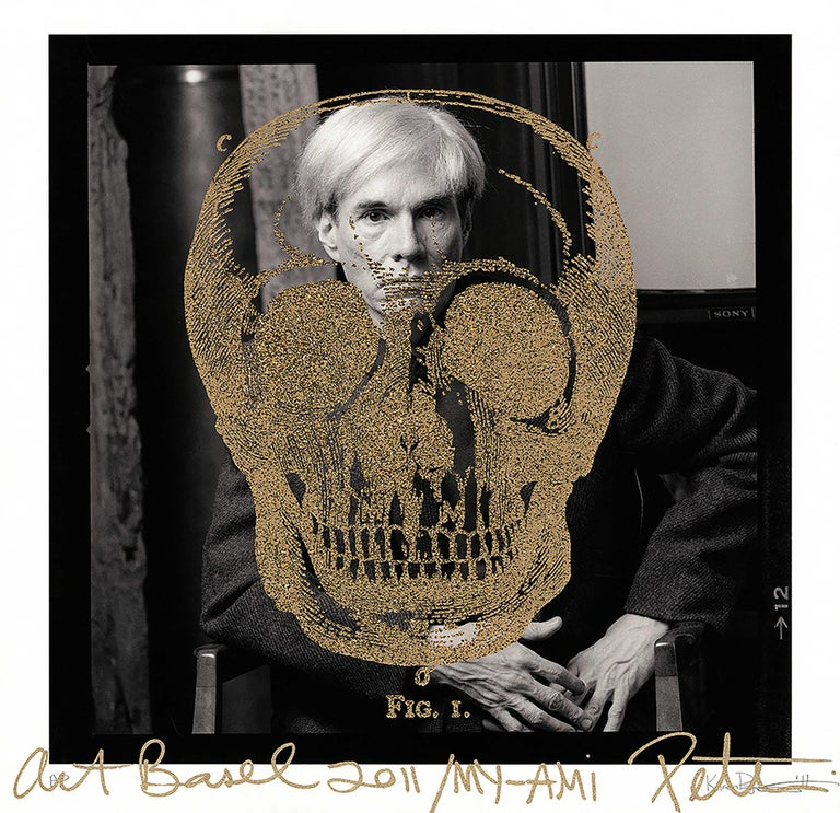 Karen Bystedt and Peter Tunney Abstract Photograph - Gold Britannica Skull on Warhol, 2011