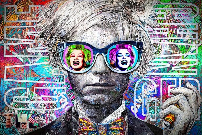 Andy Warhol, The Gamechanger - Pop Art Mixed Media Art by Karen Bystedt and Brayden Bugazzi