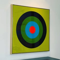 Target Practice in Martini Green 36x36 Ultra Glossy , acrylic and resin on wood