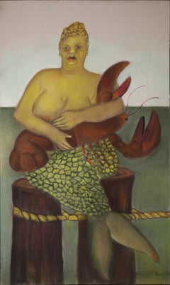 Red Hook Mermaid, colorful pastel on toned archival paper, mythology w/ lobster