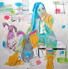 The Source, colorful abstract, figurative portrait, bunnies, interior