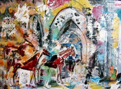 The Day the Horses Reclaimed the Temple, colorful abstract, interior, animals